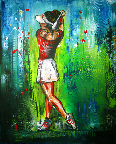 S 39 - Golfgemälde Golfer Gemälde - Golfspieler Topschwung