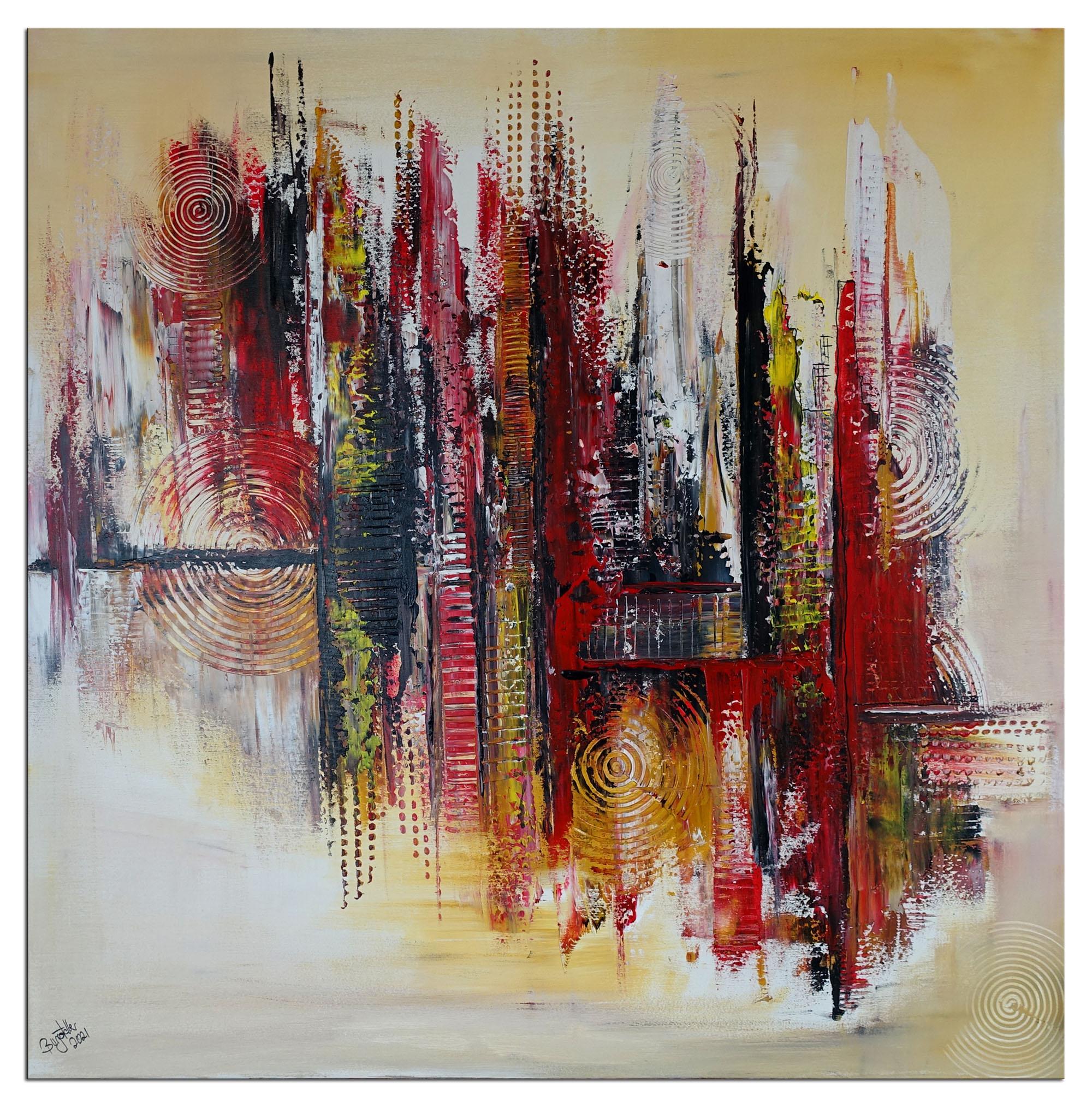 Feuerwalze xxl abstraktes Acrylbild Leinwandbild gemalt Unikat Original Gemälde rot gelb 70x120