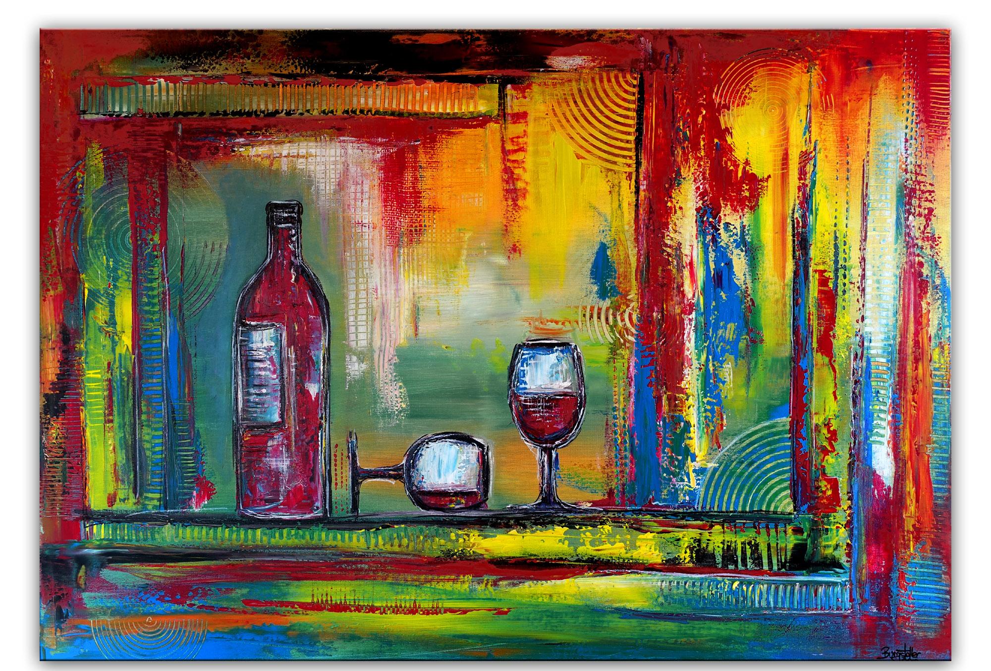 Weingläser 3 Wein Flasche handgemalt abstrakt original gemälde acrylbild wandbild küche - Kopie 70x100