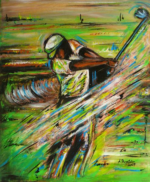 S 45 - Golfgemälde Golfer Gemälde - Golfspieler grün weiß