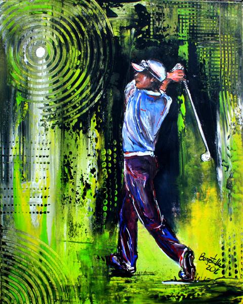 S 60 - Golfgemälde Golfer Gemälde - Golfspieler Überschlag