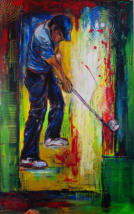 F 55 - Figuerliche Malerei - Figurative Wandbilder - Golfspieler xl
