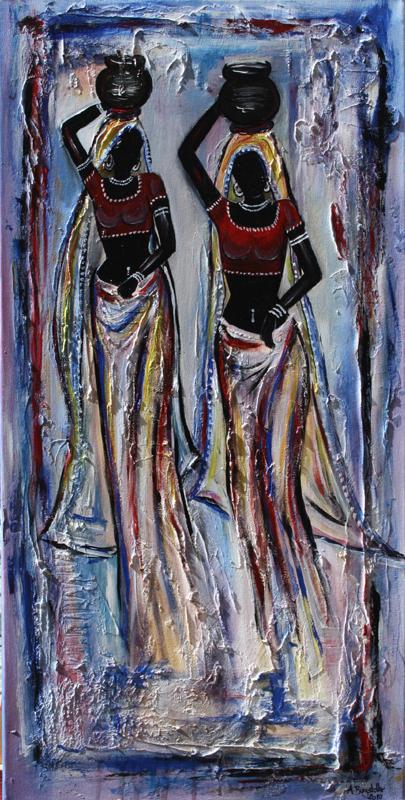F 30 - Figuerliche Malerei - Figurative Wandbilder - India Women 2