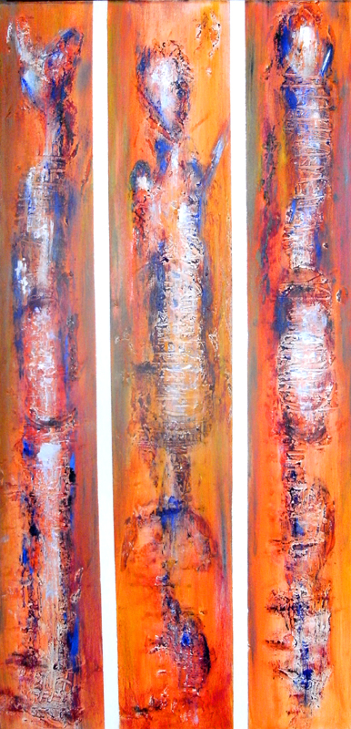 98 Verkaufte abstrakte Bilder - Irmarex 1 - orange weiß blau