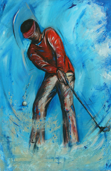 S 47 - Golfgemälde Golfer Gemälde - Golfspieler blau rot