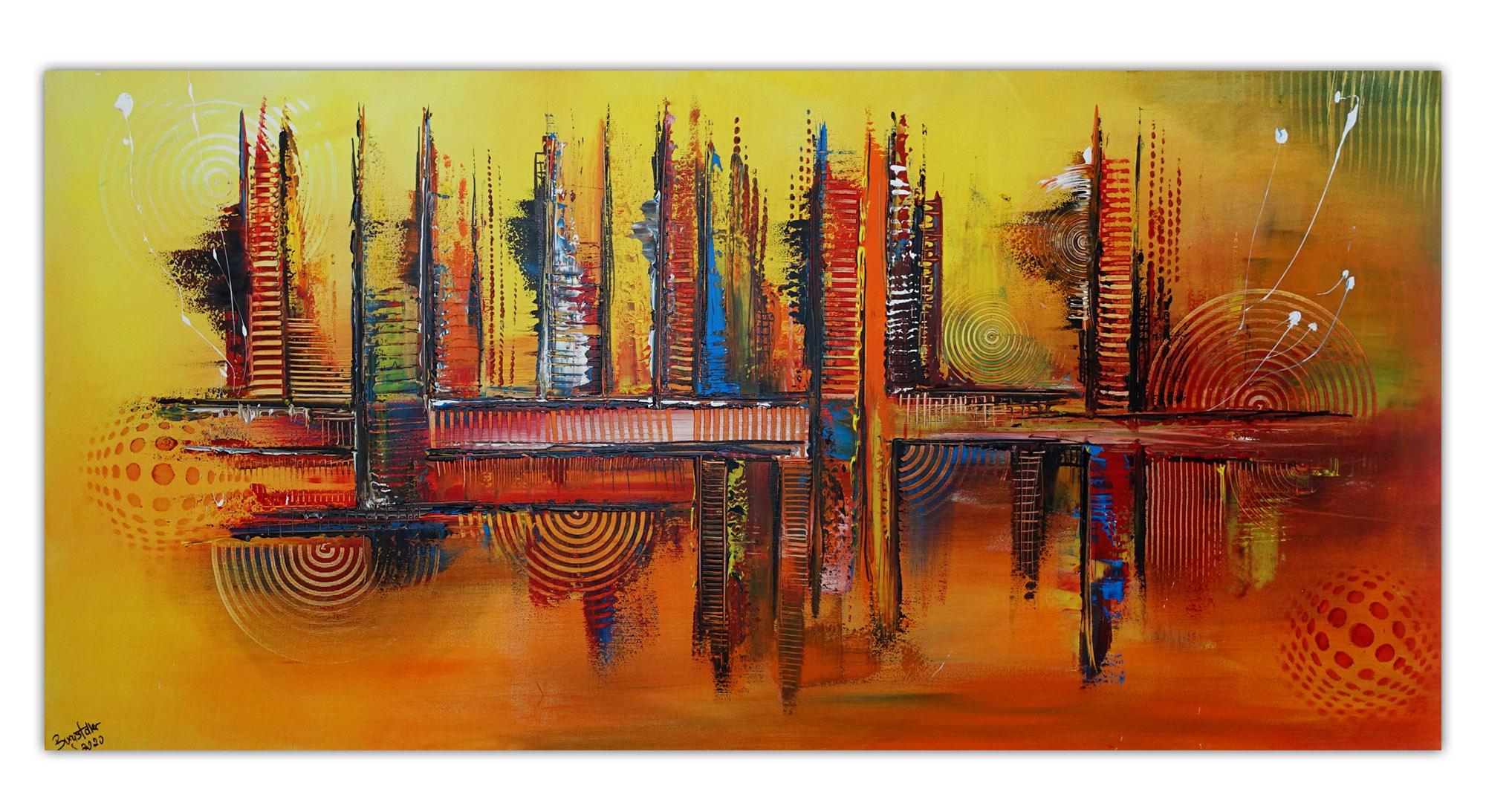 Passion abstraktes Gemaelde Malerei Leinwandbild Struktur rot gelb grau 80x140