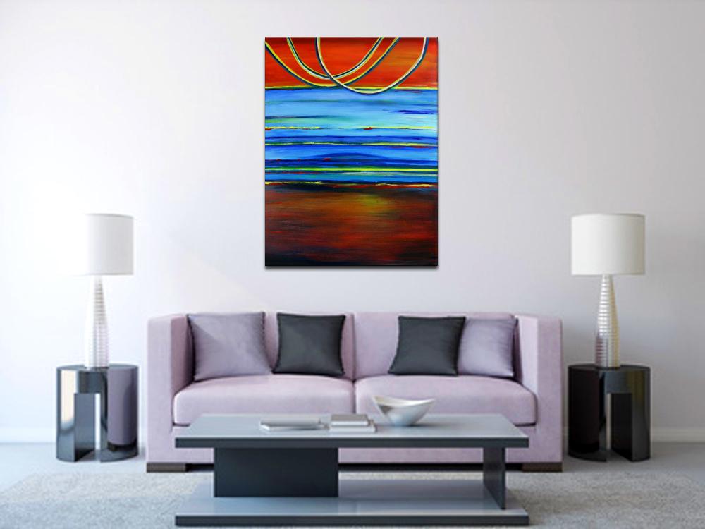 Spaceland - Abstrakte Kunst Malerei - Acrylbild günstig - Gemälde 60x80cm