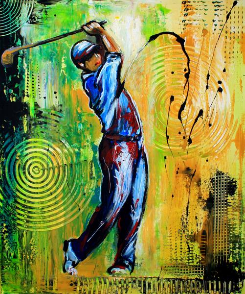 S 56 - Golfgemälde Golfer Gemälde - Golfspieler blau gelb
