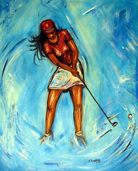 S 42 - Golfgemälde Golfer Gemälde - Golfspieler helles blau