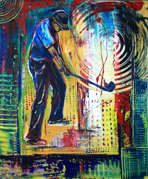 S 58 - Golfgemälde Golfer Gemälde - Golfspieler Abschlag