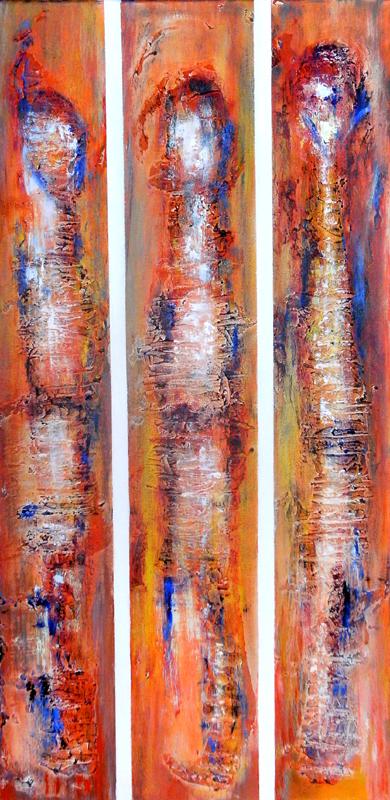 99 Verkaufte abstrakte Bilder - Irmarex 2 - orange weiß blau