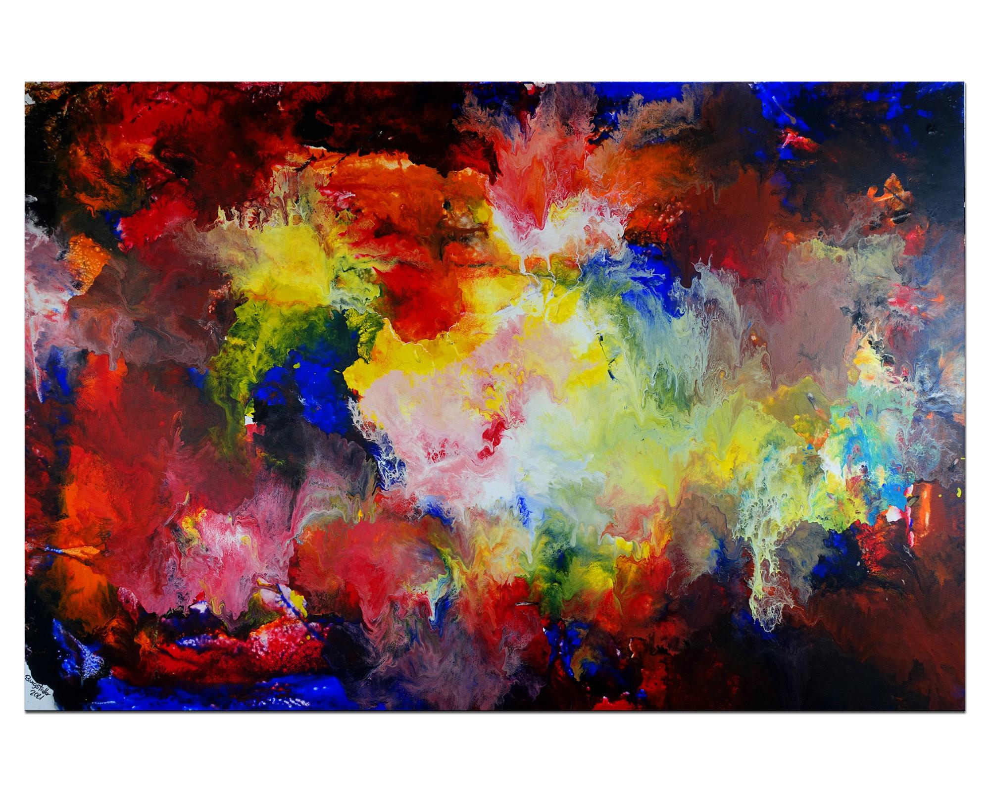Skyline 80x140 Ocker Braun Abstrakte Kunst Malerei Bürobild Wohnzimmer bild