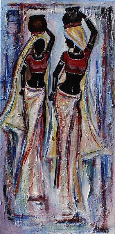 F 29 - Figuerliche Malerei - Figurative Wandbilder - India Women
