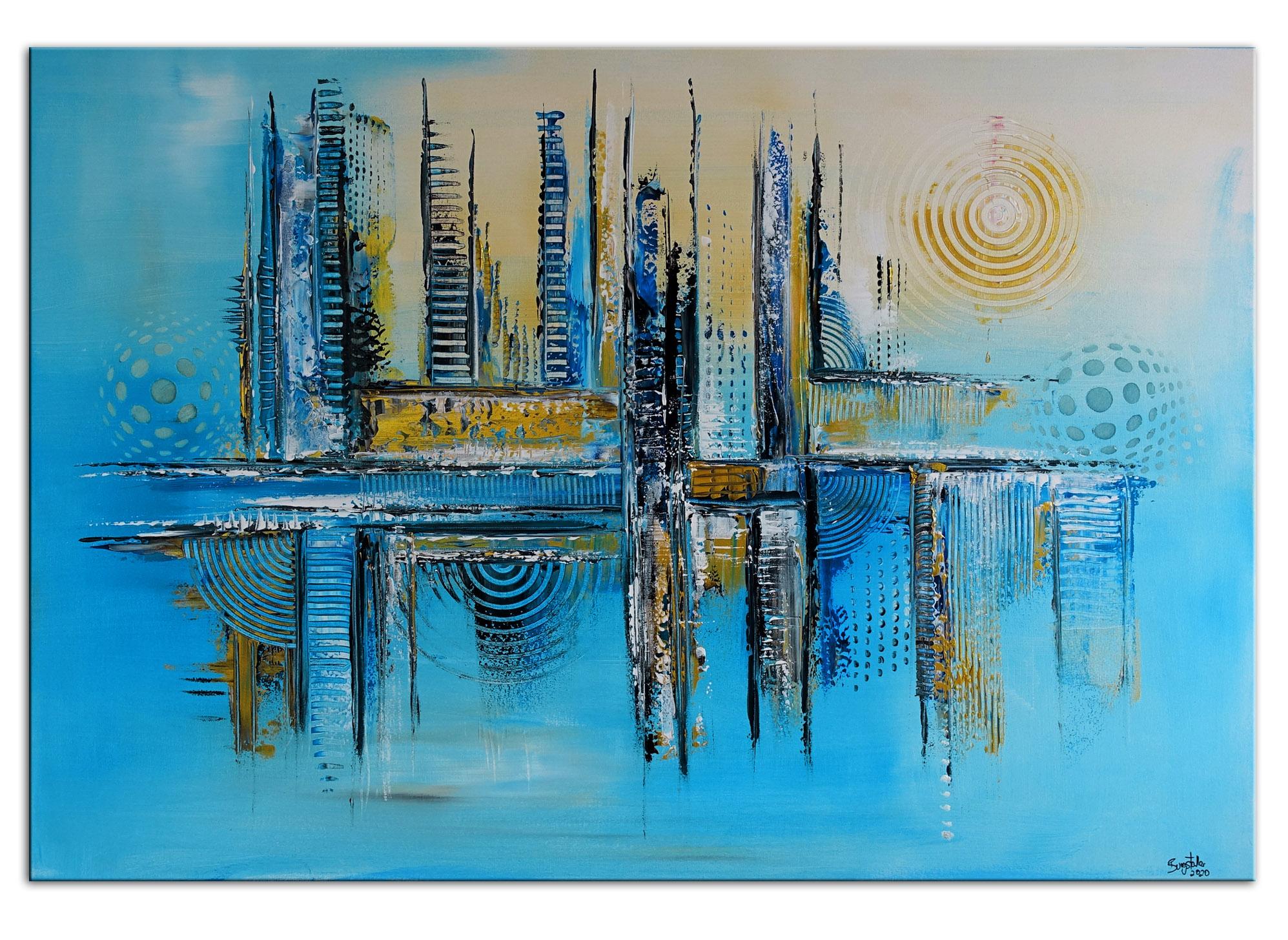 Reykjavic abstrakte malerei blau grau silber moderne kunst abstract artwork peinture 70x100