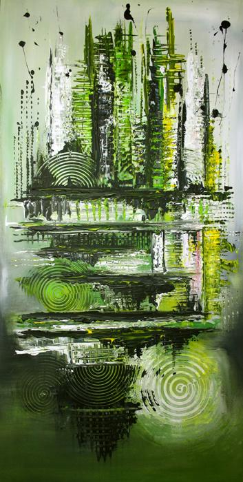 81 abstraktes Unikat handgefertigt - Grün hochformat Wandbild