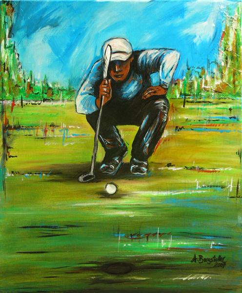 S 48 - Golfgemälde Golfer Gemälde - Golfspieler sitzend