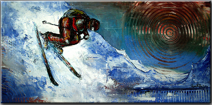 abfahrt skifahrer bilder kaufen malerei gem lde burgstaller. Black Bedroom Furniture Sets. Home Design Ideas