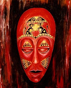 F 32-2 - Figuerliche Malerei - Figurative Wandbilder - Indonesische Maske