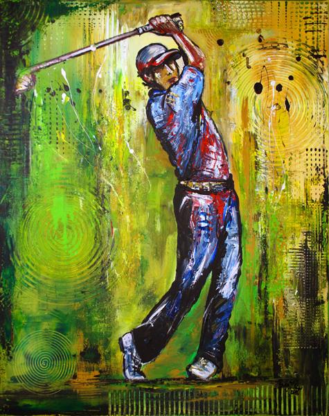 S 40 - Golfgemälde Golfer Gemälde - Golfspieler blau grün