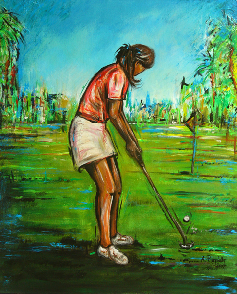 S 49 - Golfgemälde Golfer Gemälde - Golfspieler blaugrün