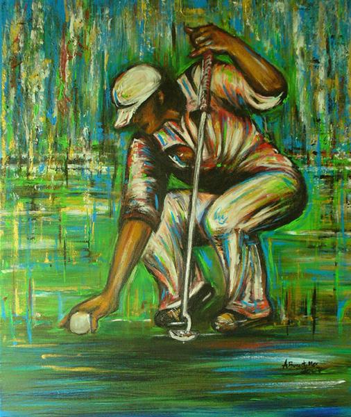 S 51 - Golfgemälde Golfer Gemälde - Golfspieler Auflegend