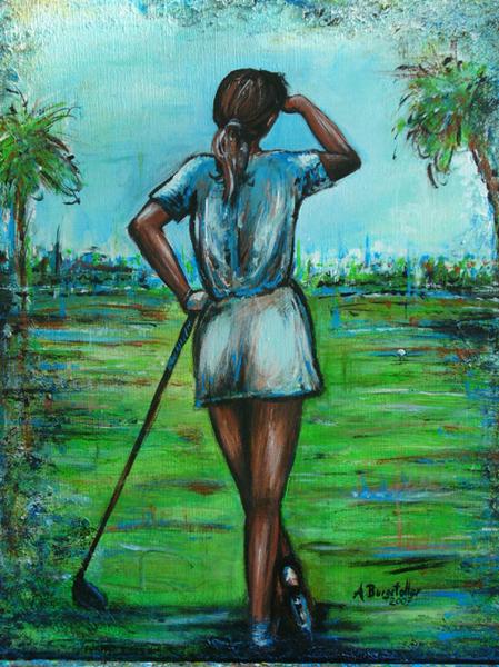 S 46 - Golfgemälde Golfer Gemälde - Golfspieler ruhend