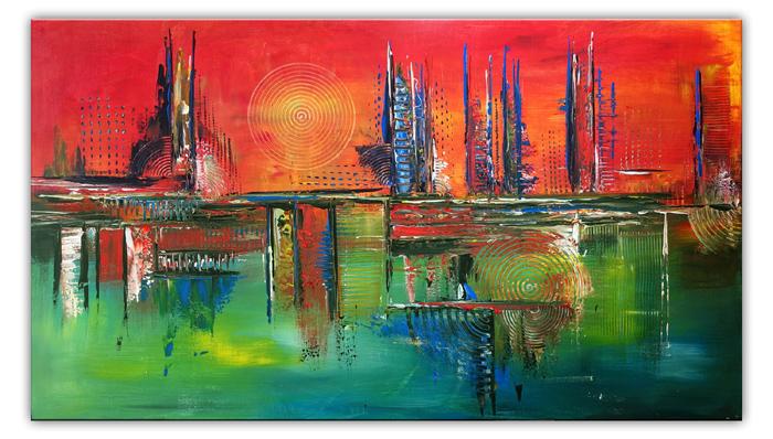 City Sunset abstraktes acrylbild rot gruen kunst bilder kaufen 80x140