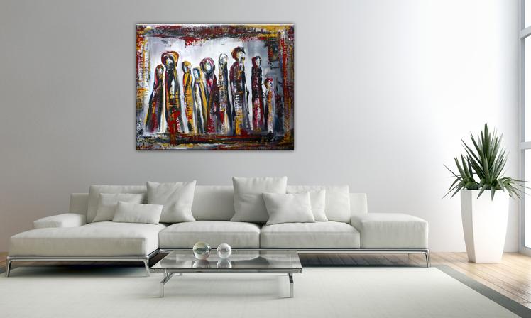 Wohnbeispiel Versammlung - Abstrakte Figuren gemalt Gemälde