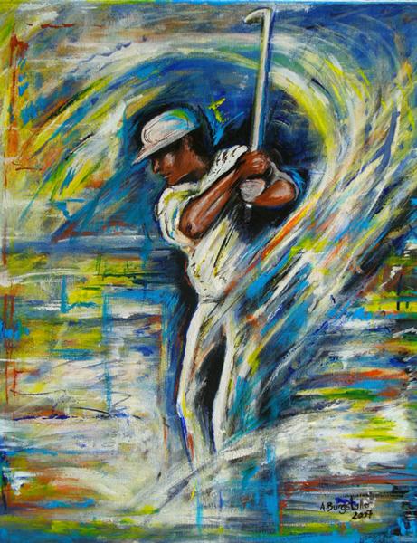 S 44 - Golfgemälde Golfer Gemälde - Golfspieler weiß