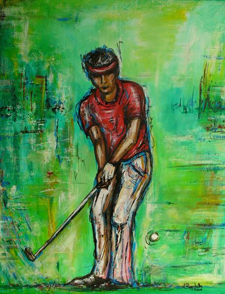 S 53 - Golfgemälde Golfer Gemälde - Golfspieler grünrot