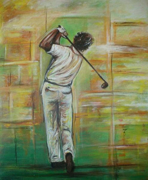 S 43 - Golfgemälde Golfer Gemälde - Golfspieler Rückseite