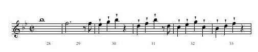 モーツァルトの交響曲第40番、第1楽章 38小節から