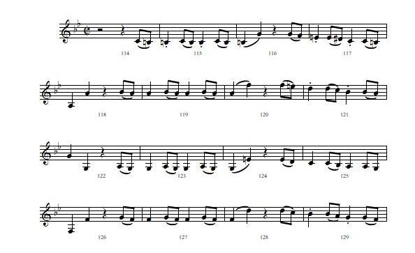 モーツァルト 交響曲第40番 第1楽章 114小節目から