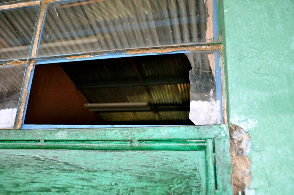 Broken window in one of the classrooms