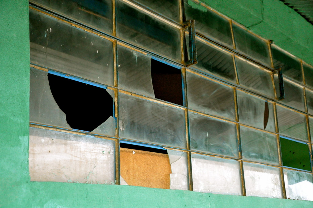 Broken windows are common and rarely repaired
