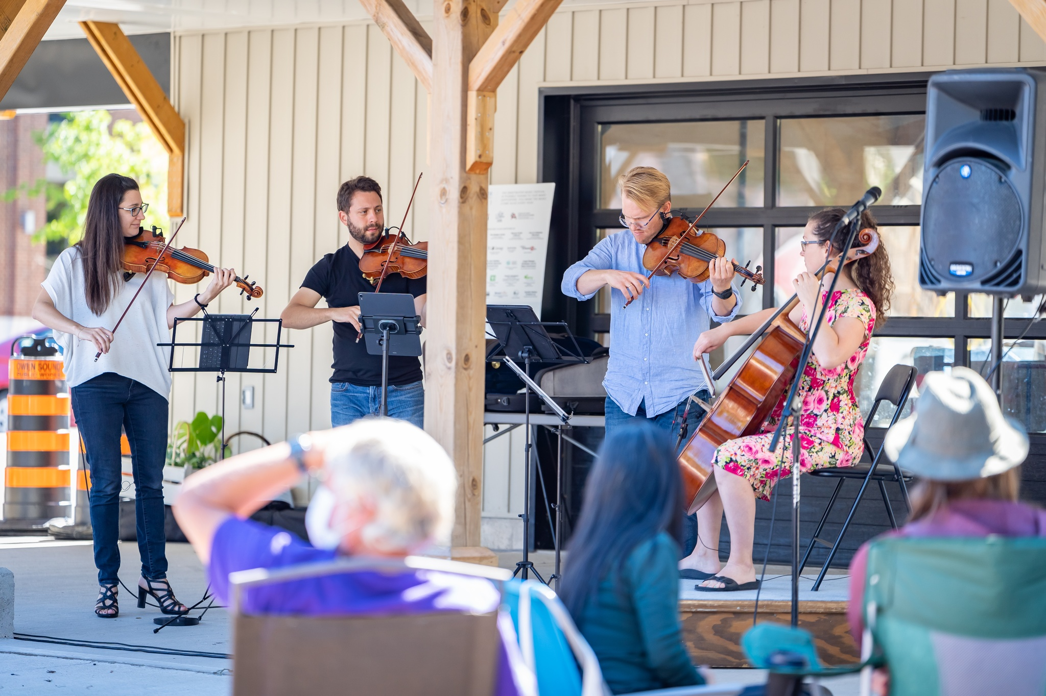 Rosebud String Quartet perform on instruments made by local luthiers at Sunday Community Concert.