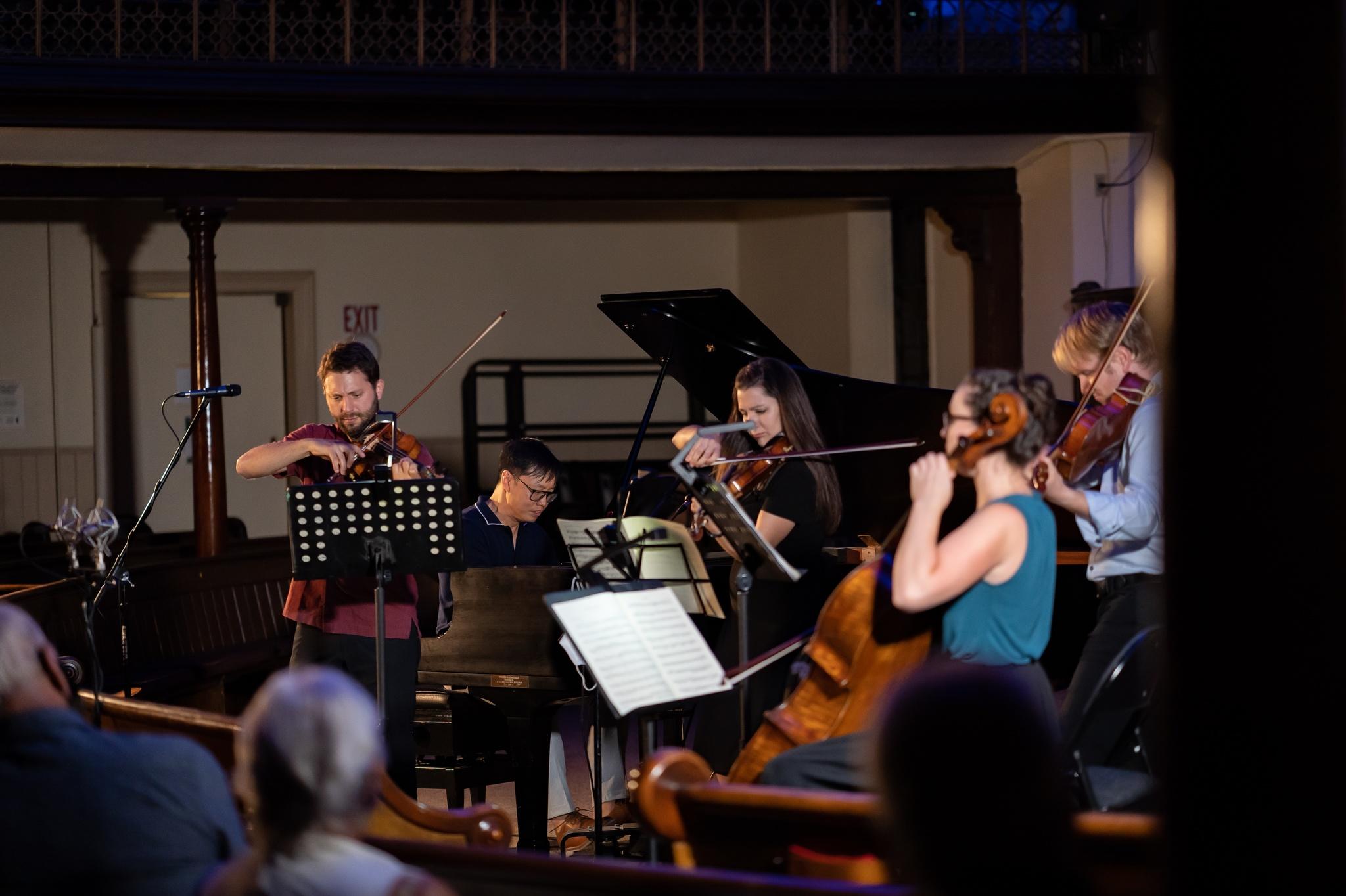Philip Chiu and Rosebud String Quartet in performance.