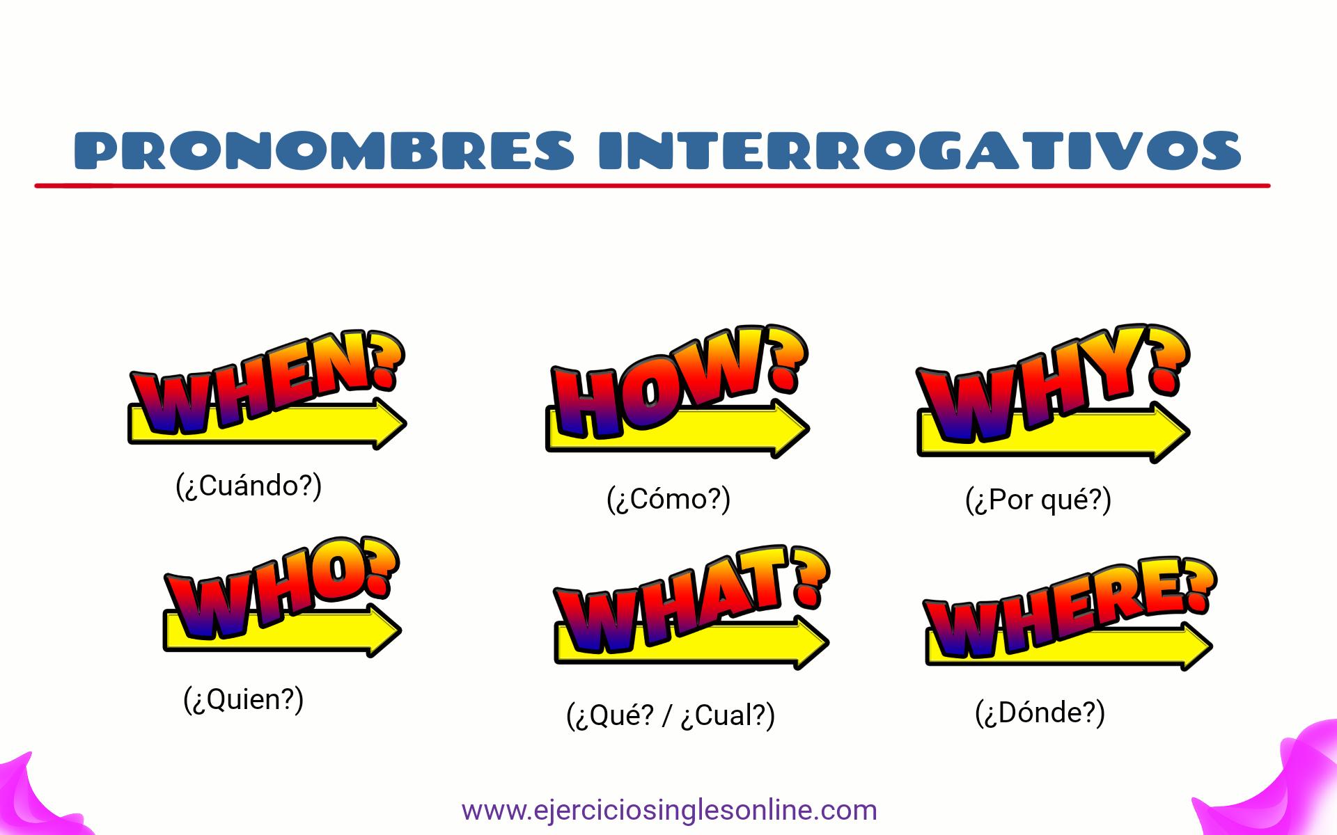 Ejercicio pronombres interrogativos en inglés