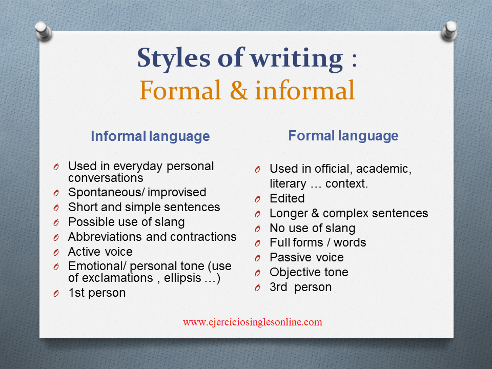 estilos de writing en inglés: formal e informal