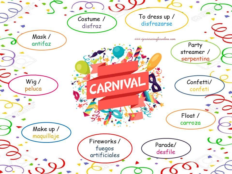 Vocabulario de Carnaval en inglés.