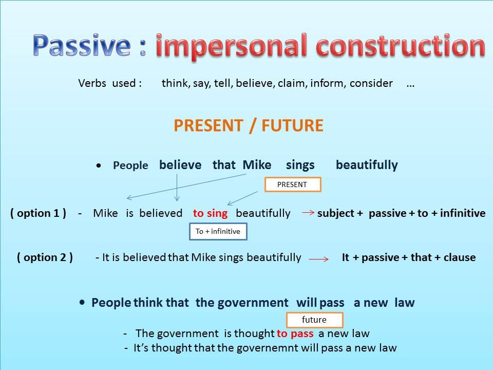 Pasivas impersonales en inglés - Ejercicio 9