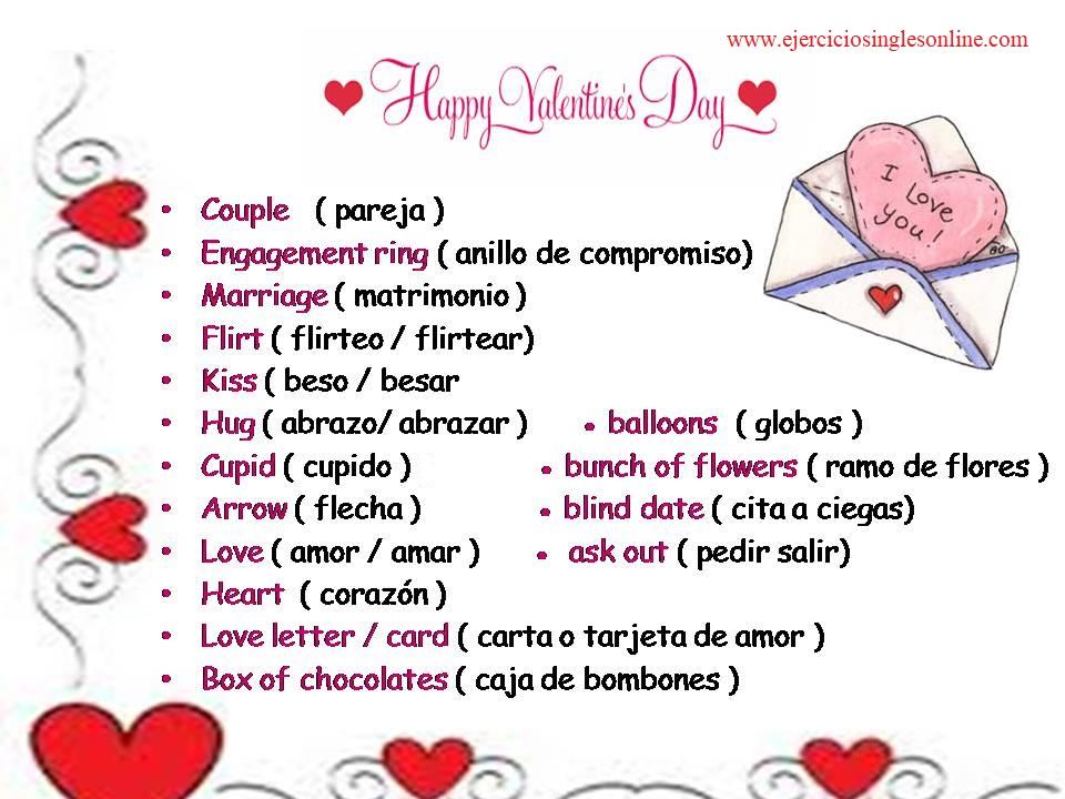 Vocabulario de amor en inglés - San Valentín