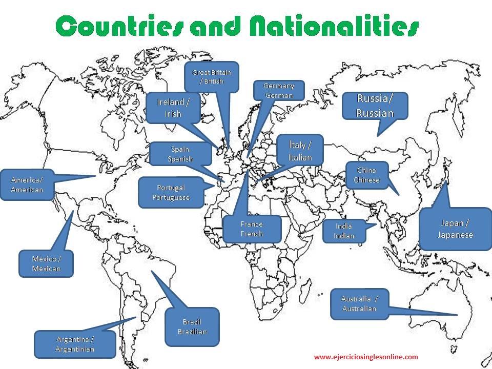 Países y nacionalidades en inglés.