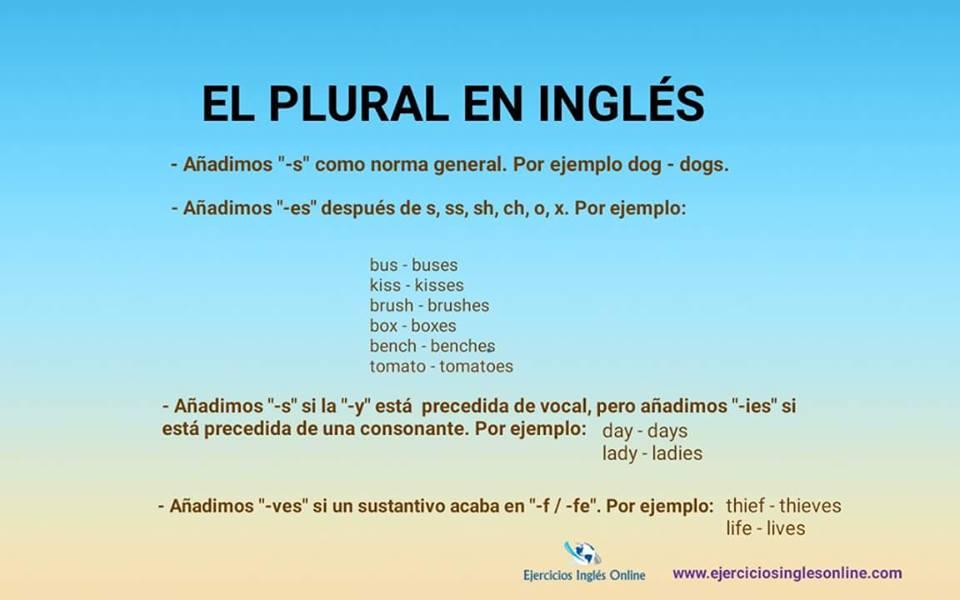 ejercicios de sustantivos de singular a plural en ingles