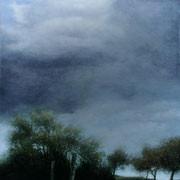 Ciel menaçant sur un paysage du sud de l'Aisne, une œuvre de Monique Pavlïn, peintre de la région de Condé-en-Brie Aisne