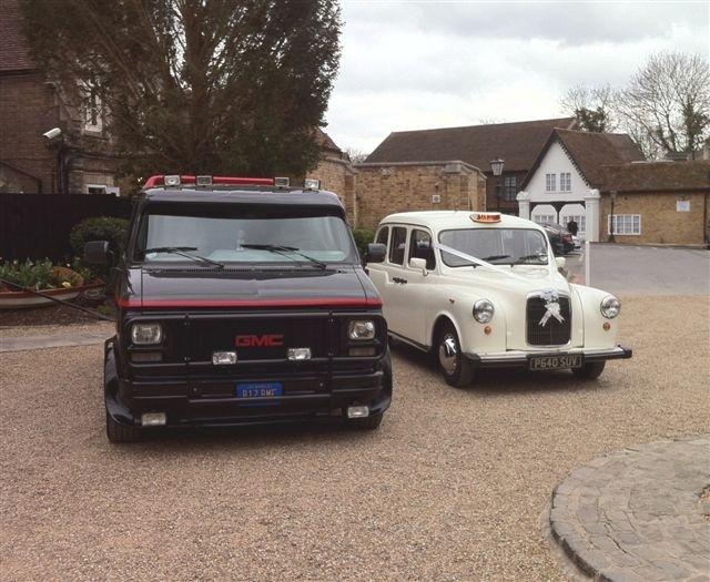 A team van and white taxi wedding car