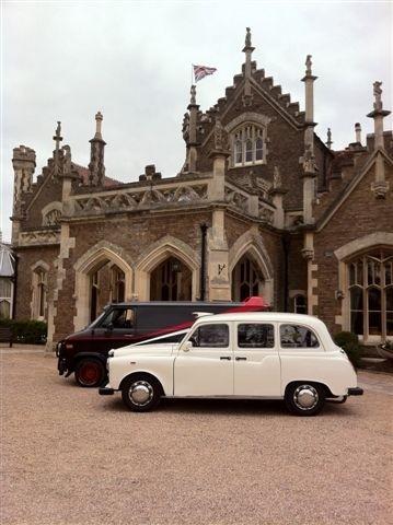 A team van and wedding taxi