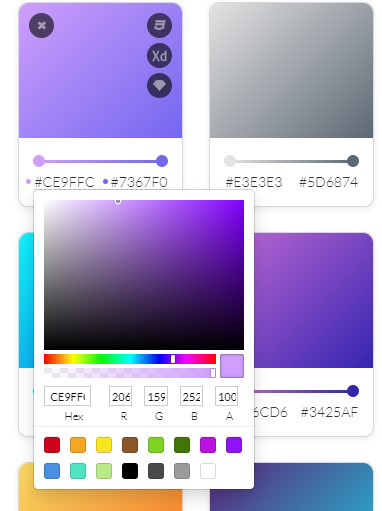 Der Farbverlauf kann online bearbeitet werden