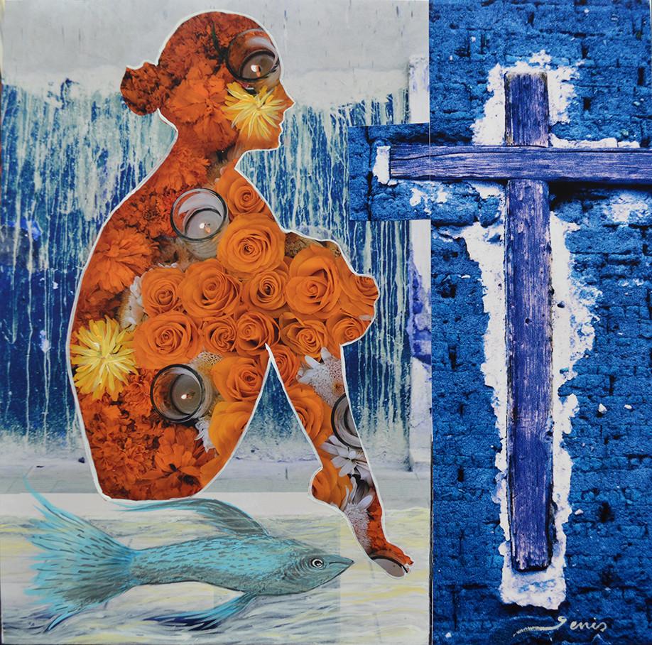 """Título: de la Serie Siluetas """"Mujer en Amarillo""""           Técnica: Collage fotográfico.      Medidas: 20 x 20 cm."""