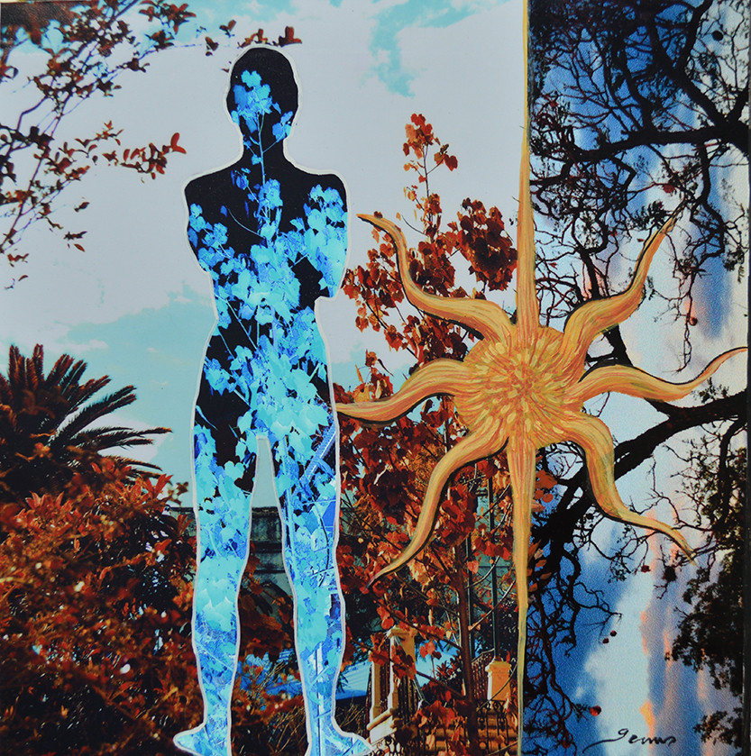 """Título: de la Serie Siluetas """"Mujer en Azul""""      Técnica: Collage fotográfico.    Medidas: 20 x 20 cm."""